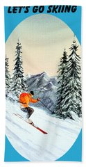Hand Towel featuring the painting Let's Go Skiing by Bill Holkham