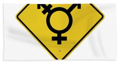 Lgbt Logo Caution Road With Rainbow Flag Sign Isolated Hand Towel