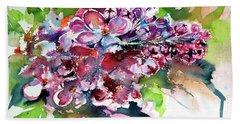 Lilac Hand Towel by Kovacs Anna Brigitta
