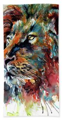 Lion Hand Towel by Kovacs Anna Brigitta