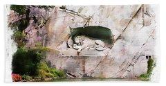 Lion Of Lucerne Bath Towel
