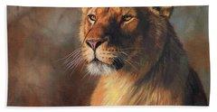 Lioness Portrait Bath Towel by David Stribbling