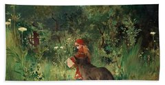 Little Red Riding Hood And The Wolf In The Forest Hand Towel