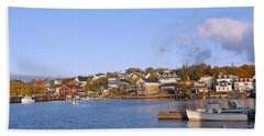 Lobster Village In Autumn, Stonington Hand Towel