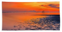 Bath Towel featuring the photograph Lonely Hut In Sea At Sunrise by Pradeep Raja PRINTS