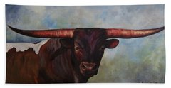 Hand Towel featuring the painting Longhorned Texan by Karen Kennedy Chatham