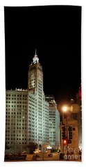 Looking North On Michigan Avenue At Wrigley Building Hand Towel