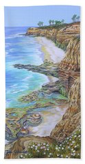 Low Tide Sunset Cliffs Bath Towel