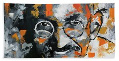 Hand Towel featuring the painting Mahatma Gandhi by Richard Day
