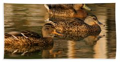 Mallards Swimming In The Water At Magic Hour Bath Towel