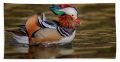 Hand Towel featuring the photograph Mandarin Duck  by Susan Candelario