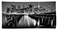 Manhattan Skyline At Night Bath Towel by Az Jackson