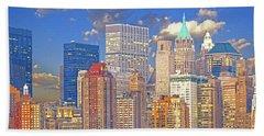 Manhattan Skyline Bath Towel by Kai Saarto