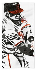 Hand Towel featuring the mixed media Manny Machado Baltimore Orioles Pixel Art by Joe Hamilton