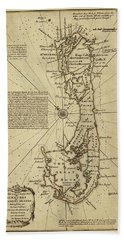 Map Of Bermuda 1750 Hand Towel by Andrew Fare