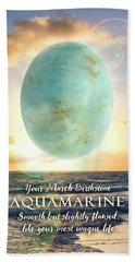 March Birthstone Aquamarine Hand Towel