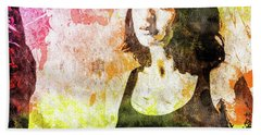 Hand Towel featuring the mixed media Maria Valverde by Svelby Art