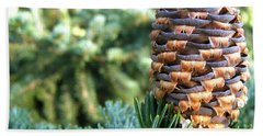 Hand Towel featuring the photograph Masterful Construction - Spruce Cone by Angie Rea