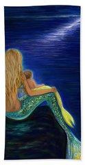 Hand Towel featuring the painting Mermaids Sweet Babies Moon by Leslie Allen