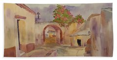 Mexican Street Scene Hand Towel by Larry Hamilton