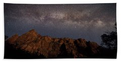 Milky Way Galaxy Over Zion Canyon Hand Towel