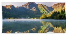 Bath Towel featuring the photograph Misty Dawn Lake by Ian Mitchell