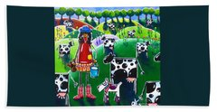 Moo Cow Farm Hand Towel by Jackie Carpenter