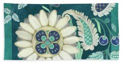 Bath Towel featuring the painting Moroccan Paisley Peacock Blue 1 by Audrey Jeanne Roberts