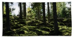 Bath Towel featuring the photograph Mossy Rocks by Kennerth and Birgitta Kullman