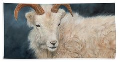 Mountain Goat Hand Towel by David Stribbling