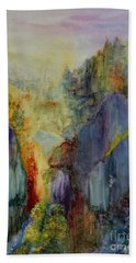 Bath Towel featuring the painting Mountain Scene by Karen Fleschler