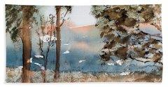 Mt Field Gum Tree Silhouettes Against Salmon Coloured Mountains Bath Towel