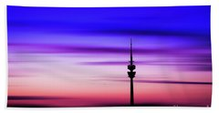 Munich - Olympiaturm At Sunset Bath Towel by Hannes Cmarits