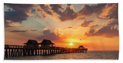 Bath Towel featuring the photograph Naples Pier At Sunset by Brian Jannsen
