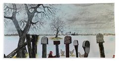 Hand Towel featuring the painting Neighbors Meeting Place by Jack G Brauer