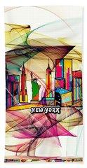 New York By Nico Bielow Hand Towel by Nico Bielow