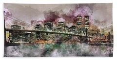 New York City Skyline Watercolor  Bath Towel