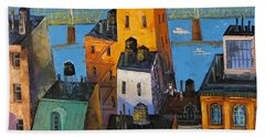 Hand Towel featuring the painting New York by Mikhail Zarovny