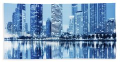 Night Scenes Of City Hand Towel by Setsiri Silapasuwanchai