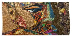 Hand Towel featuring the tapestry - textile Nina Simone Fragmented- Mississippi Goddamn by Apanaki Temitayo M