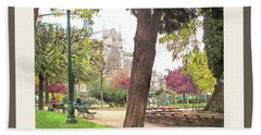 Bath Towel featuring the photograph Notre Dame From Square Rene Viviani by Felipe Adan Lerma