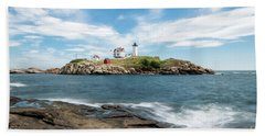 Nubble Lighthouse Hand Towel by Sharon Seaward