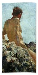 Hand Towel featuring the painting Nude Study by Henry Scott Tuke