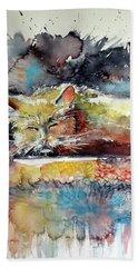 Old Cat Resting Hand Towel by Kovacs Anna Brigitta