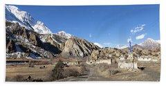 On The Annapurna Circuit Trekking Near Manang In Nepal Hand Towel