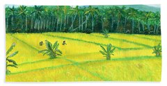 Bath Towel featuring the painting On The Way To Ubud II Bali Indonesia by Melly Terpening
