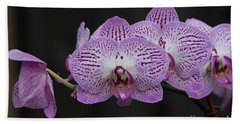 Orchids On Black Hand Towel