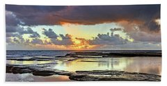 Overcast And Cloudy Sunrise Seascape Bath Towel