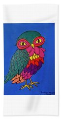 Owl Hand Towel by Stephanie Moore