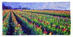 Painted Tulips Bath Towel